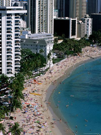 Aerial View of Waikiki Beach, Honolulu, USA-Holger Leue-Photographic Print