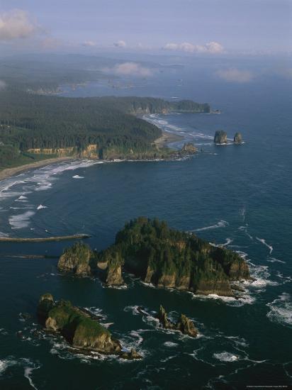 Aerial View of Washington's Coastline with Sea Stacks-Melissa Farlow-Photographic Print