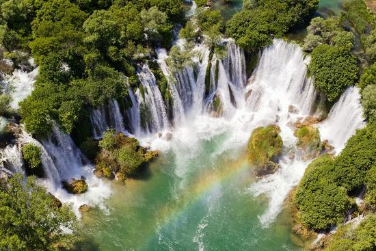 Aerial View of Waterfall with Rainbow-Studio Hrg-Photographic Print