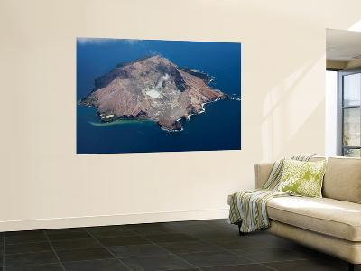 Aerial View of White Island Volcano with Central Acidic Crater Lake, Bay of Plenty, New Zealand-Stocktrek Images-Wall Mural