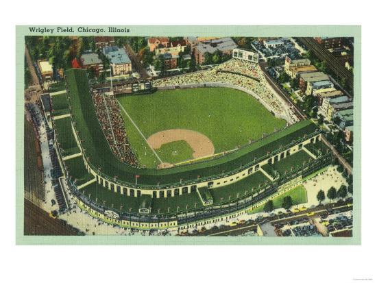 Aerial View of Wrigley Field No. 2 - Chicago, IL-Lantern Press-Art Print