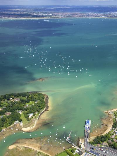 Aerial View of Yachts Racing in Cowes Week on the Solent, Isle of Wight, England, UK, Europe-Peter Barritt-Photographic Print