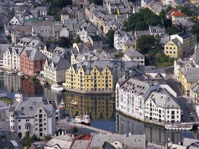 Aerial View over River Running Through Central Alesund, Norway, Scandinavia, Europe--Photographic Print