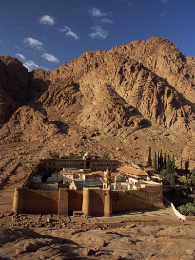 Aerial View over St. Catherines Monastery, UNESCO World Heritage Site, Egypt, Sinai-Julia Bayne-Photographic Print