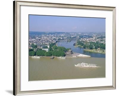 Aerial View Over the Junction Between the Rhine River and the Mosel River at Koblenz, Palatinate-Hans Peter Merten-Framed Photographic Print