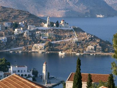 Aerial View over Yalos, Symi, Dodecanese Islands, Greek Islands, Greece, Europe-Stanley Storm-Photographic Print