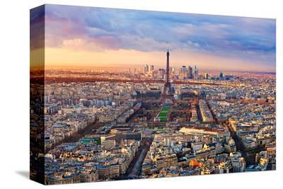 Aerial View Paris at Sunset--Stretched Canvas Print