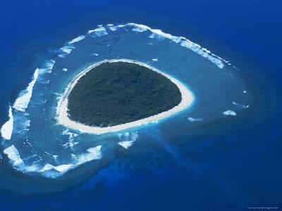 Aerial View, Reef Formation and Island, Fiji, South Pacific Islands-Lousie Murray-Photographic Print