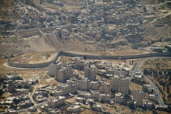Aeriel View of the Wall Dividing Israel from the West Bank to Prevent Terror Attacks-Hal Beral-Photographic Print