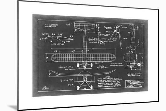 Aeronautic Blueprint VII-Vision Studio-Mounted Print