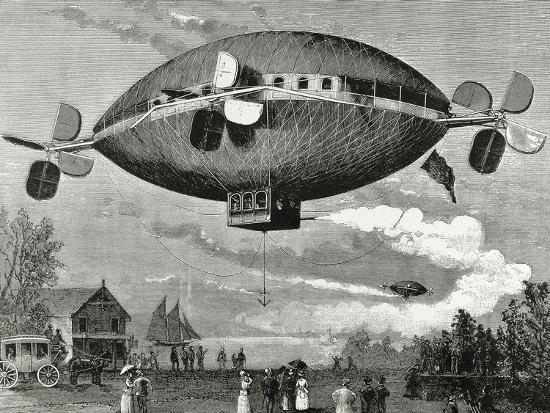 Aerostat. Engraving in the Illustration , 1887.-Tarker-Photographic Print