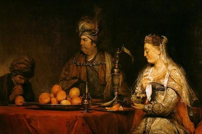 Haman and Ahasuerus at the Feast of Esther
