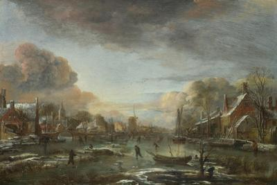 A Frozen River by a Town at Evening, Ca 1665