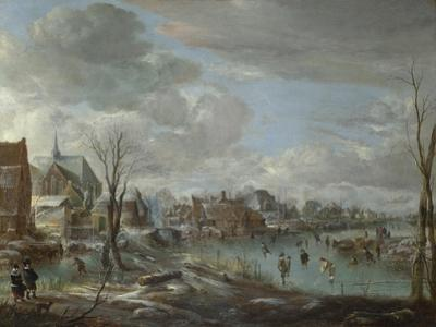 A Frozen River Near a Village, with Golfers and Skaters, C. 1647-1648