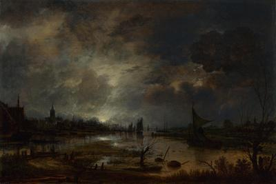 A River Near a Town, by Moonlight, C. 1645