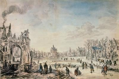 Winter Landscape with Skaters, Dutch Painting of 17th Century