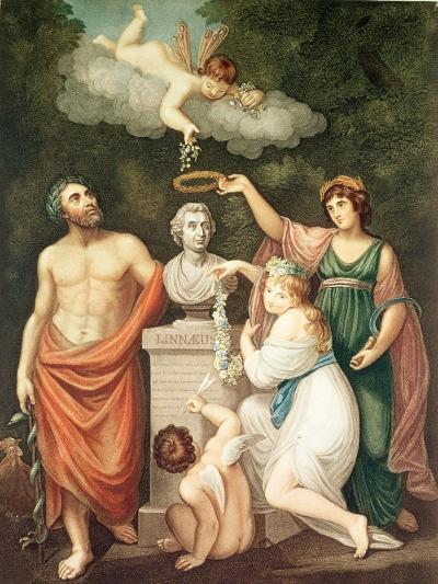 "Aesculapius, Flora, Ceres and Cupid Honouring Linnaeus, from ""The Temple of Flora"", Published 1800--Giclee Print"
