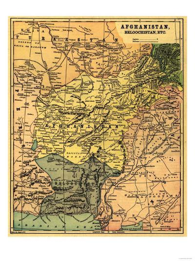 Afghanistan and Surrounding Countries - Panoramic Map - Afghanistan-Lantern Press-Art Print