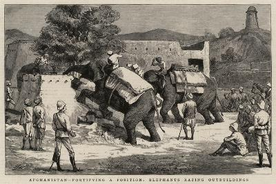 Afghanistan, Fortifying a Position, Elephants Razing Outbuildings-Harry Hamilton Johnston-Giclee Print