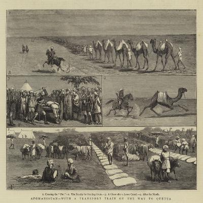 Afghanistan, with a Transport Train on the Way to Quetta-Charles Edwin Fripp-Giclee Print