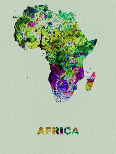 Africa Color Splatter Map-NaxArt-Art Print