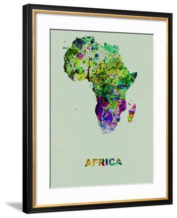 Africa Color Splatter Map-NaxArt-Framed Art Print