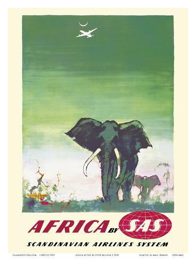 Africa - Elephants - by SAS Scandinavian Airlines System-Otto Nielsen-Art Print