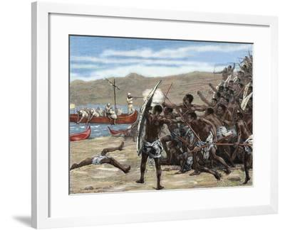 Africa. Explorers Confronting with Natives of Bumbireh Island. Engraving. Colored.-Tarker-Framed Photographic Print