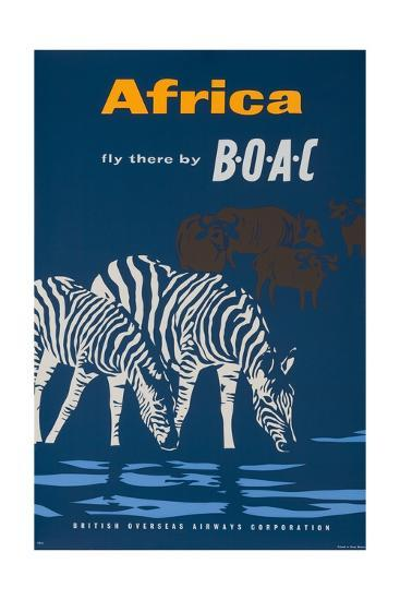 Africa: Fly There by Boac Travel Poster--Giclee Print