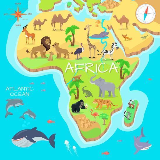 Africa Mainland Cartoon Map With Local Fauna Cute African Animals