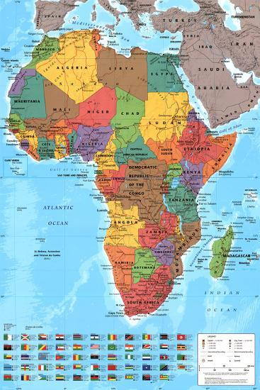 Africa Map Reference Poster--Poster