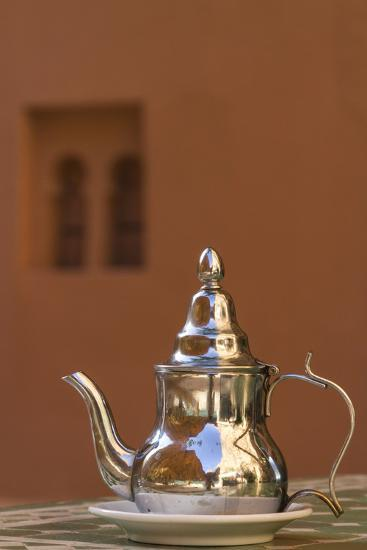 Africa, Morocco, Dades Gorge. Tea Service Reflects the Colors of Steep Walls-Brenda Tharp-Photographic Print