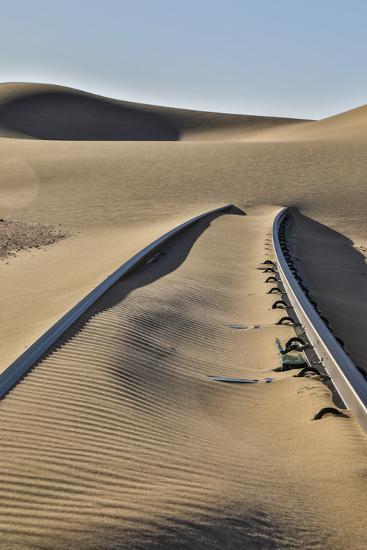 Africa, Namibia, Garub, Railroad Tracks and Drifted Sand-Hollice Looney-Photographic Print