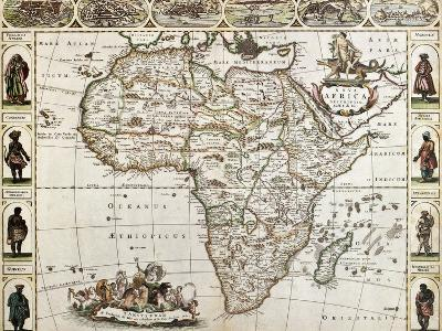 Africa Old Map. Created By Frederick De Wit, Published In Amsterdam, 1660-marzolino-Art Print