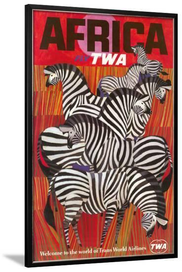Africa - Trans World Airlines Fly TWA - Zebras--Framed Giclee Print