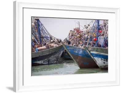 Africa, Western Sahara, Dakhla. Group of Rusting and Aged Fishing Boats-Alida Latham-Framed Photographic Print