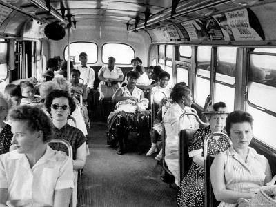 African American Citizens Sitting in the Rear of the Bus in Compliance with Florida Segregation Law-Stan Wayman-Photographic Print