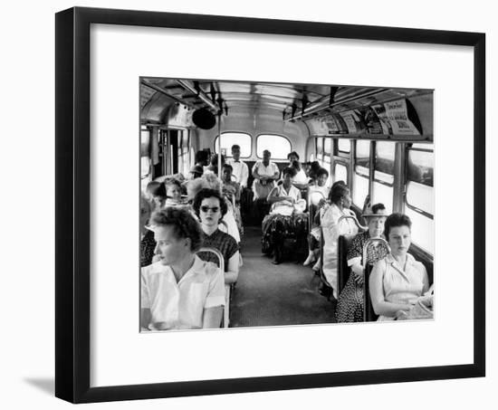 African American Citizens Sitting in the Rear of the Bus in Compliance with Florida Segregation Law-Stan Wayman-Framed Photographic Print