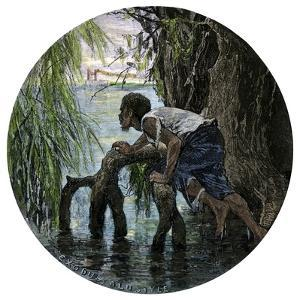 African-American Escaping Slavery by Crossing the Ohio River, 1850s