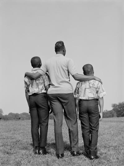 African-American Father With Arms Around Two Sons, Rear View-H^ Armstrong Roberts-Photographic Print