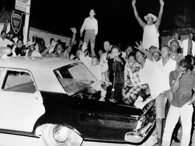 African American Jeer Police During the 1965 Watts Riots--Photo