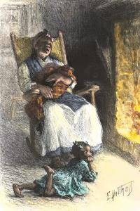 African-American Mother Rocking and Singing to Her Children in a Cabin
