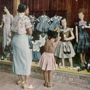 African American Ondria Thornton Window Shopping W. Her Granddaughter Ondria Tanner