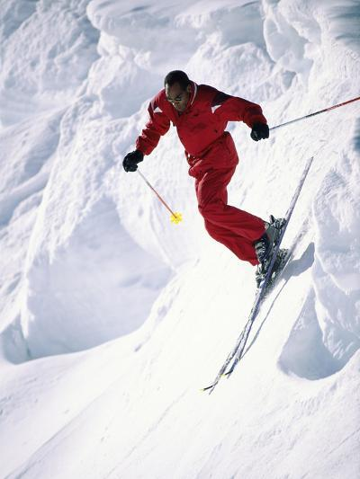 African-American Skier in Red--Photographic Print
