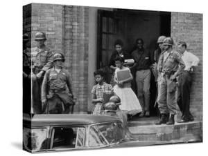 African American Students Being Escorted at School by Federal Troops