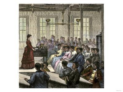 African-American Students in the Assembly-Room at the Hampton Institute in Virginia, 1870s--Giclee Print