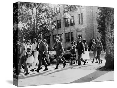 African-American Students Leaving under Military Escort, Little Rock, 1957