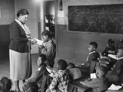 African-American Teacher and Children in Segregated School Classroom--Photographic Print