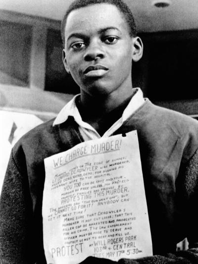 African American Youth Protests the Police Killing of Leonard Deadwyler--Photo
