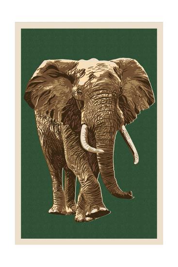 African Elephant - Letterpress-Lantern Press-Art Print